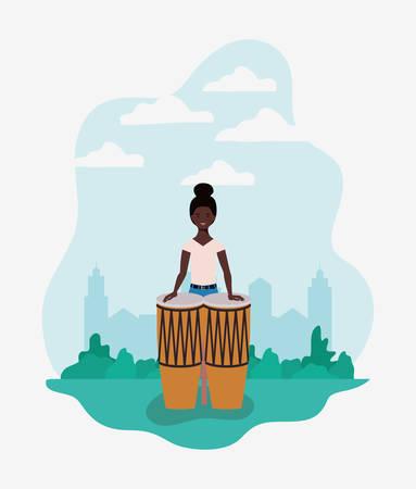 afro woman playing bongos character vector illustration design