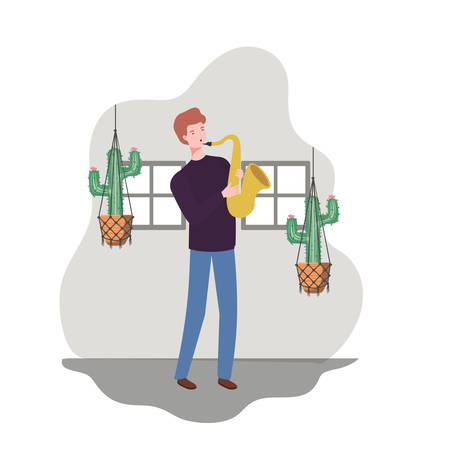 young man with saxophone and houseplants on macrame hangers of background vector illustration design