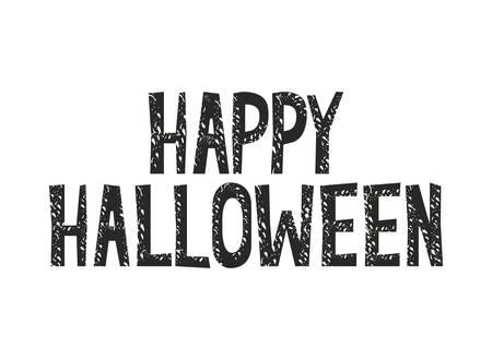 happy halloween label on white background vector illustration design