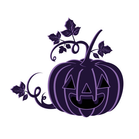 halloween pumpkin with scary face on white background vector illustration design Иллюстрация