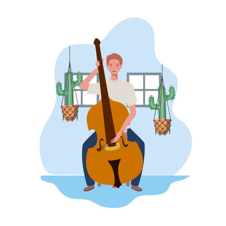 young man with fiddleand houseplants on macrame hangers of background vector illustration design Çizim
