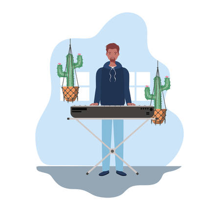 young man with piano keyboard and houseplants on macrame hangers of background vector illustration design