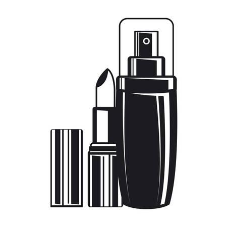 splash bottle and lipstick make up icon vector illustration design