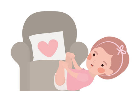 cute little girl baby in the sofa character vector illustration design