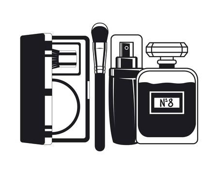 splash bottle and shadows make up icon vector illustration design