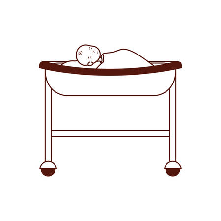 cute baby in stretcher hospital icon vector illustration design Çizim