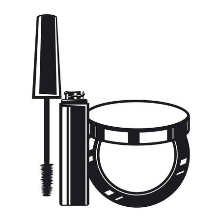 eyelashes and blush make up product icon vector illustration design