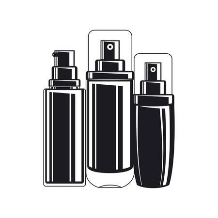 splash bottles make up icons vector illustration design