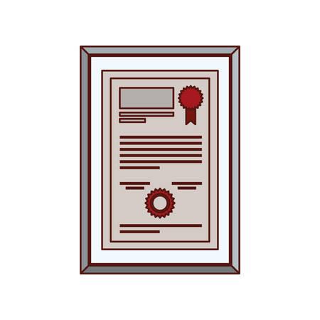 certificate diploma in frame icon vector illustration design