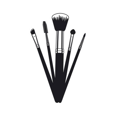 set of applicators make up brushes accessories vector illustration design