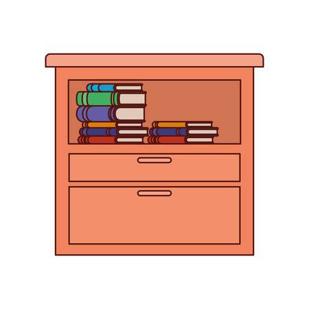 shelving wooden with books icon vector illustration design
