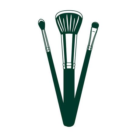 set of applicators make up brushes accessories vector illustration design