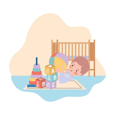 cute little boy baby playing with toys and cradle vector illustration design Illustration