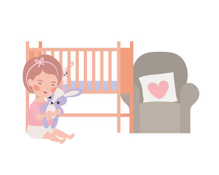 cute little girl in the bedroom character vector illustration design Ilustrace