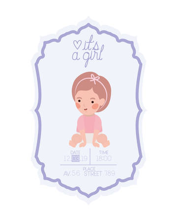 its a girl card with little baby character vector illustration design
