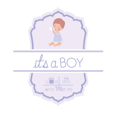 its a boy card with little baby character vector illustration design Vecteurs