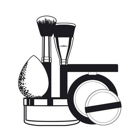 set of applicators make up brushes and cosmetics vector illustration design