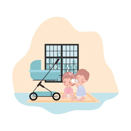 cute little kids babies with cart characters vector illustration design