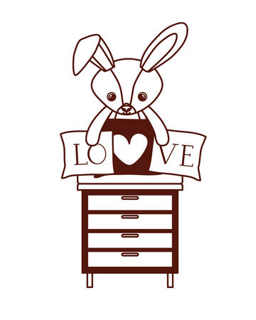 cute rabbit of stuffed with heart love pillows in drawer vector illustration design
