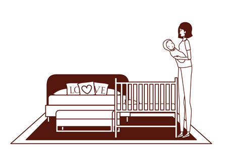 cute pregnancy mother with little boy seated in bedroom vector illustration design