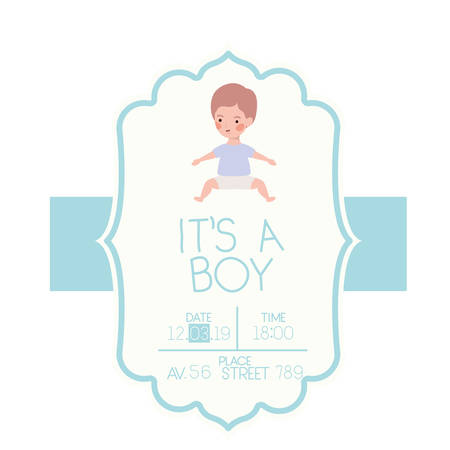 its a boy card with little baby character vector illustration design