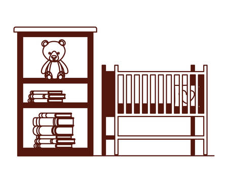 baby cradle and shelving with books vector illustration design Ilustrace