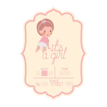 its a girl card with little baby character vector illustration design 版權商用圖片 - 129803878