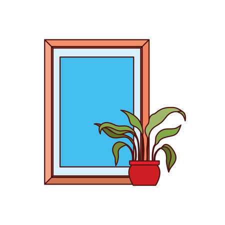 portrait and houseplant decoration icons vector illustration design
