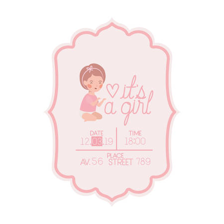 its a girl card with little baby character vector illustration design 版權商用圖片 - 129803906