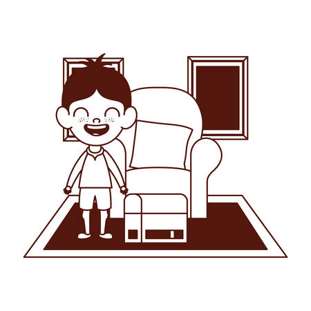 cute little boy in the living room character vector illustration design