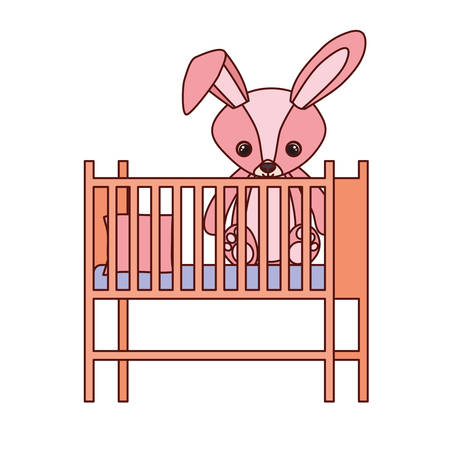 cute rabbit baby toy in baby cradle vector illustration design