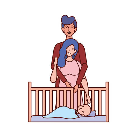 parents couple with little baby in cradle vector illustration design Ilustrace