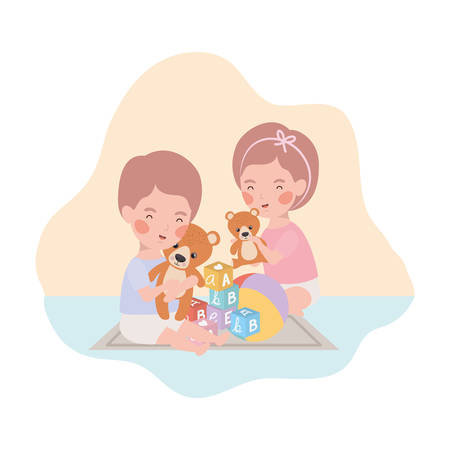cute little kids babies playing with toys characters vector illustration design 向量圖像