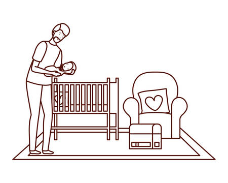 father with little boy with cradle characters vector illustration design Illustration