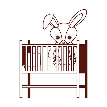 cute rabbit of stuffed baby toy in baby cradle vector illustration design