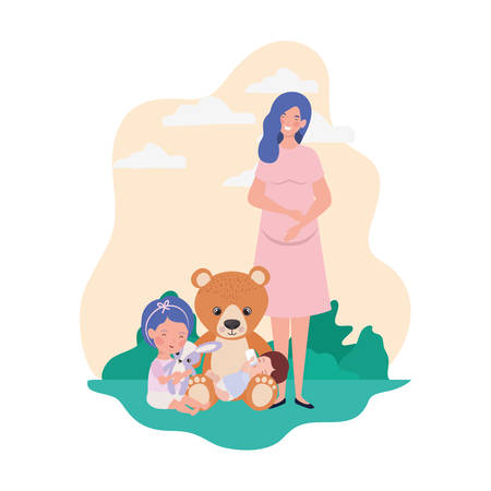 cute pregnancy mother with little kids in the camp vector illustration design