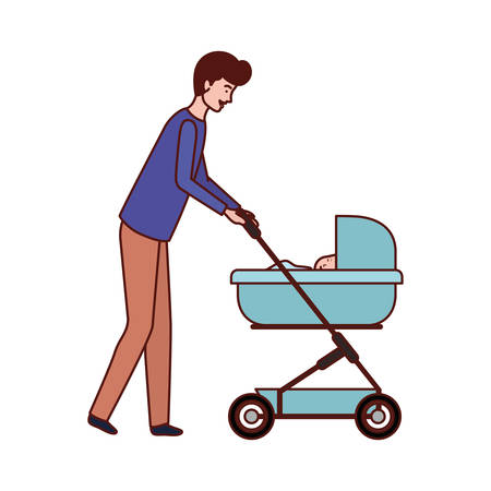 father with little boy in cart vector illustration design Illustration