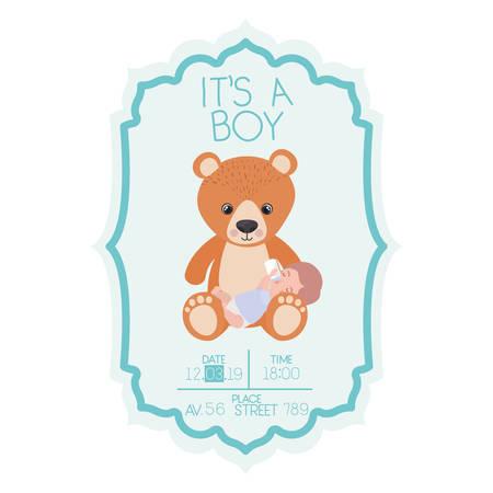 its a boy card with cute bear teddy vector illustration design