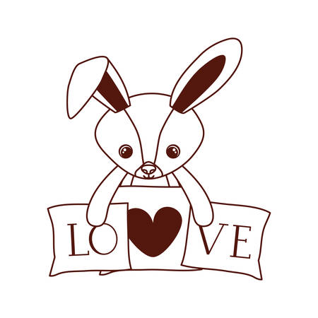 cute rabbit of stuffed with heart love pillows vector illustration design