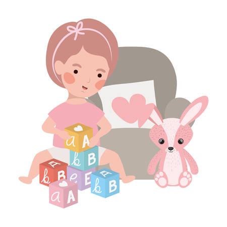 cute little girl baby with rabbit stuffed in sofa character vector illustration design