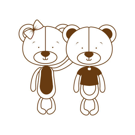 silhouette of couple of bears in love on white background vector illustration design