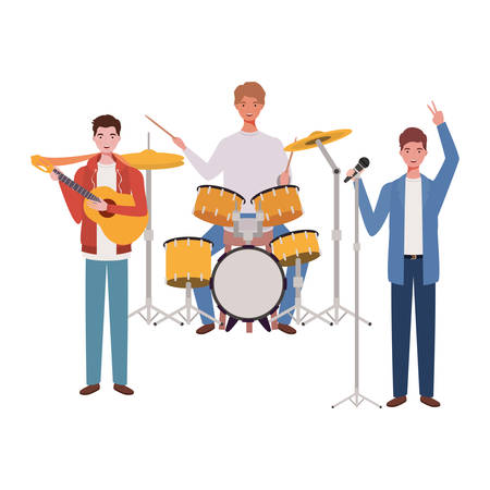 men with musicals instruments on white background vector illustration design Иллюстрация