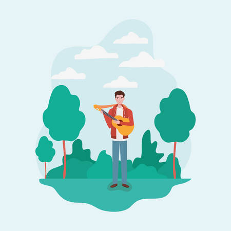 man playing acoustic guitar character vector illustration design