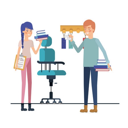 couple with chair office avatar character vector illustration design  イラスト・ベクター素材