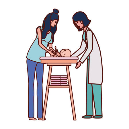 pediatrician female doctor with mom and baby in changer vector illustration design Иллюстрация