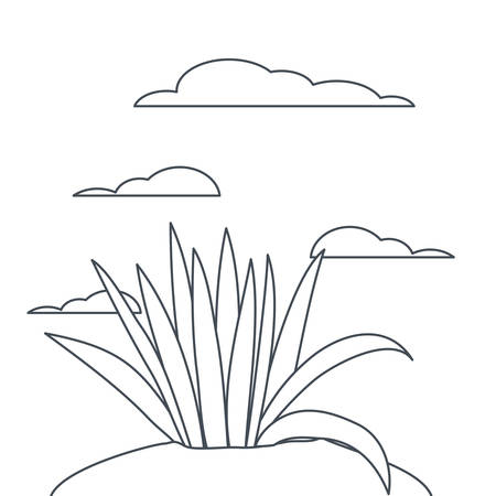 plant in landscape isolated icon vector illustration design Çizim