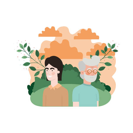 father with son in landscape and foliage character vector illustration design