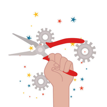 hand with splier tool isolated icon vector illustration design Archivio Fotografico - 129808786
