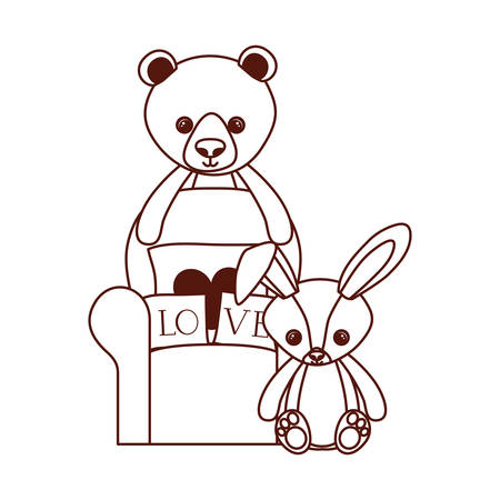 cute bear and rabbit stuffed baby toys in livingroom vector illustration design