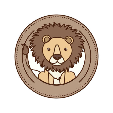 cute and adorable lion with circular frame vector illustration design
